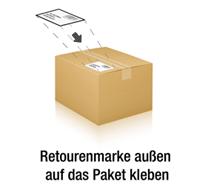 Retourenmarke außen auf das Paket kleben