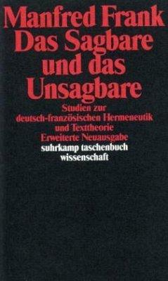 Das Sagbare und das Unsagbare - Frank, Manfred