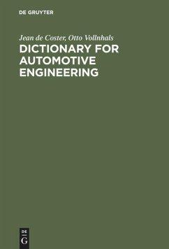 Wörterbuch für Kraftfahrzeugtechnik - Coster, Jean de; Vollnhals, Otto J.