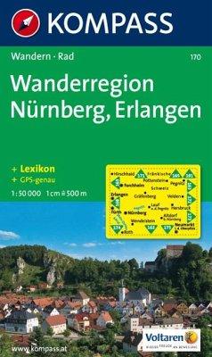 KOMPASS Wanderkarte Wanderregion Nürnberg - Erlangen