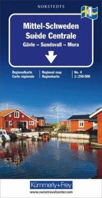 Kümmerly+Frey Karte Mittel-Schweden Regionalkarte; Suède Centrale; Central Sweden; Mellersta Sverige
