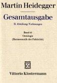 Gesamtausgabe Abt. 2 Vorlesungen Bd. 63. Ontologie