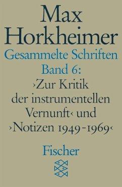 Gesammelte Schriften VI - Horkheimer, Max