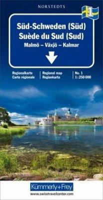 Kümmerly+Frey Karte Süd-Schweden (Süd) Regionalkarte; Suède du Sud (Sud) / Southern Sweden (Southth) / Södra Sverige (Sy