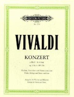 Konzert für Violine, Streicher und Basso continuo a-Moll op.3,6 RV 356, Klavierauszug - Vivaldi, Antonio