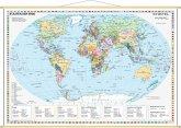 Stiefel Wandkarte Miniformat Staaten der Erde, mit Holzstäben