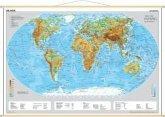 Stiefel Wandkarte Miniformat Die Erde, physisch, mit Holzstäben