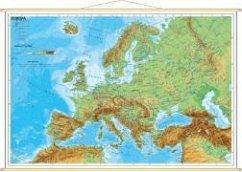 Stiefel Wandkarte Miniformat Europa, physisch, mit Holzstäben