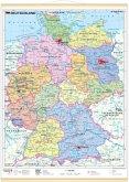 Stiefel Wandkarte Miniformat Deutschland, politisch, mit Holzstäben