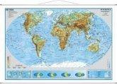 Stiefel Wandkarte Kleinformat Die Erde, physisch, mit Metallstäben