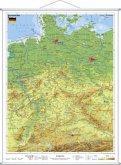 Stiefel Wandkarte Kleinformat Deutschland, physisch, mit Metallstäben