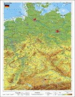 Stiefel Wandkarte Kleinformat Deutschland, physisch, ohne Metallstäbe