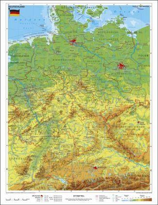 Stiefel Wandkarte Kleinformat Deutschland, physisch, ohne ...