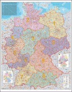 Stiefel Wandkarte Kleinformat Deutschland, Postleitzahlen, ohne Metallstäbe
