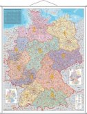 Stiefel Wandkarte Großformat Deutschland, Postleitzahlenkarte, mit Metallstäben