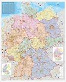 Stiefel Wandkarte Großformat Deutschland, Organisationskarte, ohne Metallstäbe