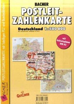 Bacher Postleit-Zahlenkarte Deutschland, gefalz...