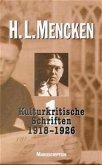 Kulturkritische Schriften 1918 - 1926