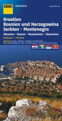 ADAC Karte Kroatien, Bosnien und Herzegowina, Serbien, Montenegro