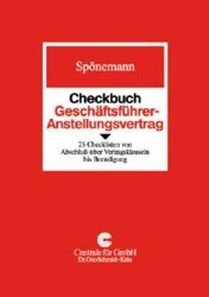 Checkbuch Geschäftsführer Anstellungsvertrag Von Michael Spönemann