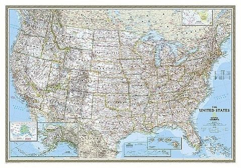 National Geographic Map United States Political, laminiert ...