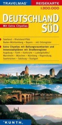 Travelmag Reisekarte Deutschland Süd / Travelma...