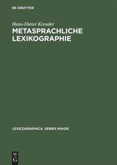 Metasprachliche Lexikographie - Kreuder, Hans-Dieter