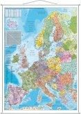 Stiefel Wandkarte Großformat Europa, PLZ, mit Metallstäben
