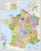 Stiefel Wandkarte Großformat Frankreich, Postleitzahlen, ohne Metallstäbe
