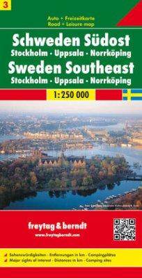 Freytag & Berndt Autokarte + Freizeitkarte Schweden Südost; Östra Svealand; Zweden Zuidoost; Sweden Southeast; Dudest de