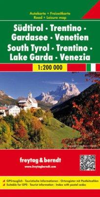 Freytag & Berndt Autokarte Südtirol - Trentino - Gardasee - Venetien 1:200.000; South Tyrol, Trentino, Lake Garda, Venez