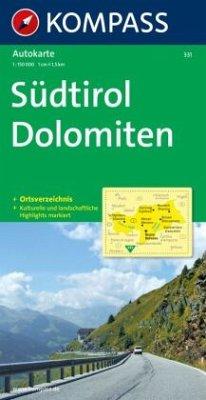 Kompass Karte Südtirol, Dolomiten; Alto Adige, Dolomiti