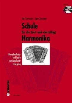 Schule für die drei- und vierreihige Harmonika, m. Audio-CD
