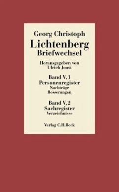 Briefwechsel. Register. Band V in 2 Bänden - Lichtenberg, Georg Chr. Lichtenberg, Georg Christoph
