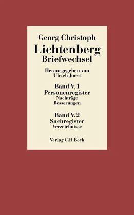 Briefwechsel. Register. Band V in 2 Bänden - Lichtenberg, Georg Chr. Lichtenberg, Georg Christoph