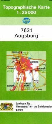 Karte Augsburg.Topographische Karte Bayern Augsburg