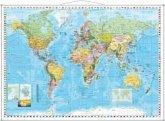 Stiefel Wandkarte Großformat Weltkarte, politisch mit Flaggenrand, englische Ausgabe, mit Metallstäben