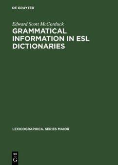 Grammatical Information in ESL Dictionaries