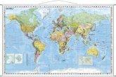 Stiefel Wandkarte Kleinformat Weltkarte politisch mit Flaggenrand, deutschsprachig, mit Metallstäben