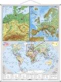 Stiefel Wandkarte Großformat Deutschsprachige Länder, Europa und die Welt, mit Metallstäben