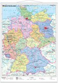 Stiefel Wandkarte Miniformat Deutschland, politisch, mit Metallstäben