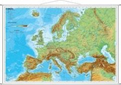 Stiefel Wandkarte Miniformat Europa, physisch, mit Metallstäben