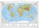 Stiefel Wandkarte Miniformat Die Erde, physisch, mit Metallstäben