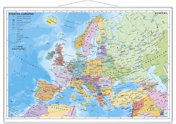 Stiefel Wandkarte Miniformat Staaten Europas, mit Metallstäben