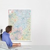 BACHER Postleitzahlenkarte Hessen Maßstab 1:250 000, Papierkarte gerollt