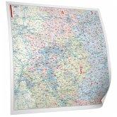 BACHER Postleitzahlenkarte Nordrhein-Westfalen Maßstab 1:280 000, Papierkarte gerollt, folienbeschichtet