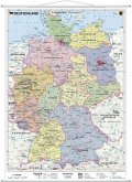 Stiefel Wandkarte Kleinformat Deutschland, politisch, mit Metallstäben