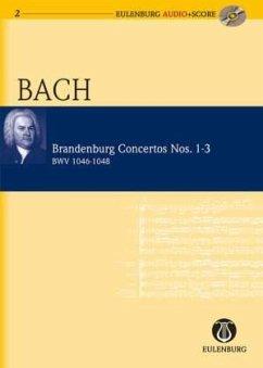 Brandenburgische Konzerte Nr.1, 2 und 3 (BWV 1046, 1047, 1048), Studienpartitur u. Audio-CD - Bach, Johann Sebastian