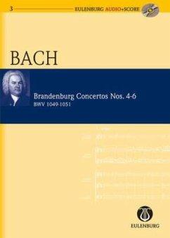 Brandenburgische Konzerte Nr.4-6 (BWV 1049-1051), Studienpartitur u. Audio-CD - Bach, Johann Sebastian