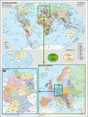 Stiefel Wandkarte Großformat Deutschland und Europa in der Welt (politisch), ohne Metallstäbe